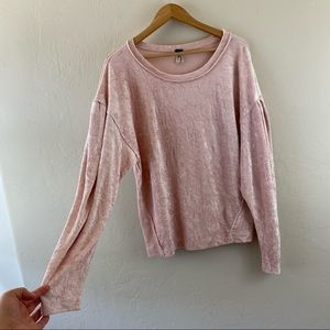 Free People Blush Pink Velvet Pullover Sweater Top